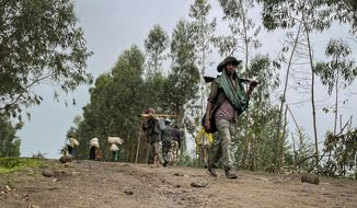 """An unidentified armed militia fighter walks down a path as villagers flee with their belongings in the other direction, near the village of Chenna Teklehaymanot, in the Amhara region of northern Ethiopia Thursday, Sept. 9, 2021. At the scene of one of the deadliest battles of Ethiopia's 10-month Tigray conflict, witness accounts reflected the blurring line between combatant and civilian after the federal government urged all capable citizens to stop Tigray forces """"once and for all."""" (AP Photo)"""