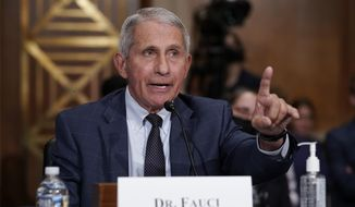 Dr. Anthony Fauci testifies before the Senate Health, Education, Labor, and Pensions Committee, on Capitol Hill in Washington, on July 20, 2021. (AP Photo/J. Scott Applewhite, Pool)