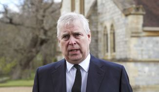 In this Sunday, April 11, 2021, file photo, Britain's Prince Andrew speaks. during a television interview at the Royal Chapel of All Saints at Royal Lodge, Windsor, England, Sunday, April 11, 2021. A U.S. court will hold a pretrial conference Monday, Sept. 13, 2021, in the civil suit filed by a woman who claims Prince Andrew sexually assaulted her as the two sides argue over whether the prince has been properly served with documents in the case. Attorneys for Virginia Giuffre say the documents were handed over to a Metropolitan Police officer on duty at the main gates of Andrews home in Windsor Great Park on Aug. 27. (Steve Parsons/Pool Photo via AP, File)