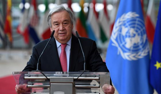 In this June 24, 2021 file photo, United Nations Secretary-General Antonio Guterres addresses journalists during an EU summit at the European Council building in Brussels. Guterres has issued a dire warning, Saturday, Sept. 11, that the world is moving in the wrong direction and faces a pivotal moment. (John Thys, Pool Photo via AP, File)