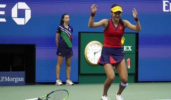 Emma Raducanu, of Britain, reacts after defeating Leylah Fernandez, of Canada, during the women's singles final of the US Open tennis championships, Saturday, Sept. 11, 2021, in New York. (AP Photo/Seth Wenig)