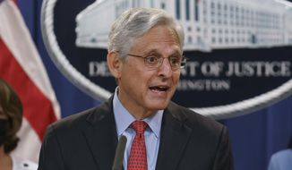In this Sept. 9, 2021, photo, Attorney General Merrick Garland announces a lawsuit to block the enforcement of a new Texas law that bans most abortions, at the Justice Department in Washington. (AP Photo/J. Scott Applewhite) ** FILE **