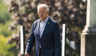 President Joe Biden leaves St. Joseph on the Brandywine Catholic Church in Wilmington, Del., after attending a Sunday Mass, Sunday, Sept. 12, 2021. (AP Photo/Manuel Balce Ceneta)