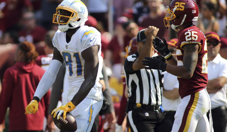 Los Angeles Chargers wide receiver Mike Williams (81) celebrates during an NFL football game against the Washington Football Team, Sunday, Sept. 12, 2021 in Landover, Md. (AP Photo/Daniel Kucin Jr.)