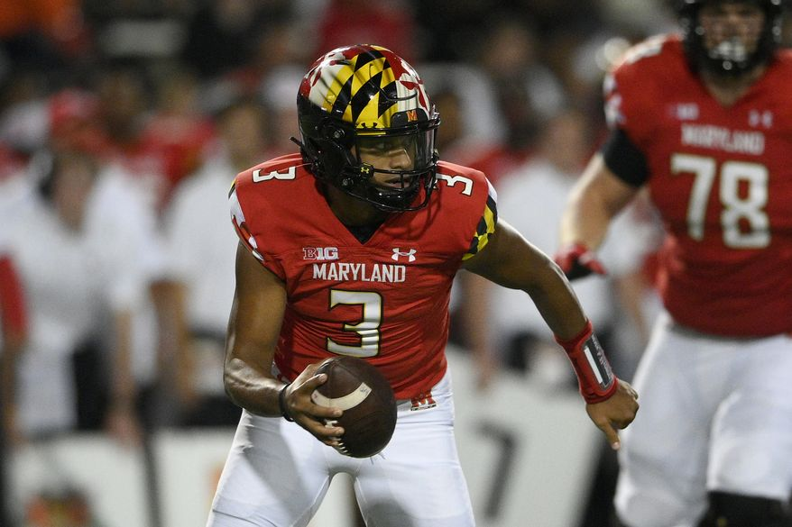 Maryland quarterback Taulia Tagovailoa (3) in action during the first half of an NCAA college football game against Howard, Saturday, Sept. 11, 2021, in College Park, Md. (AP Photo/Nick Wass) **FILE**
