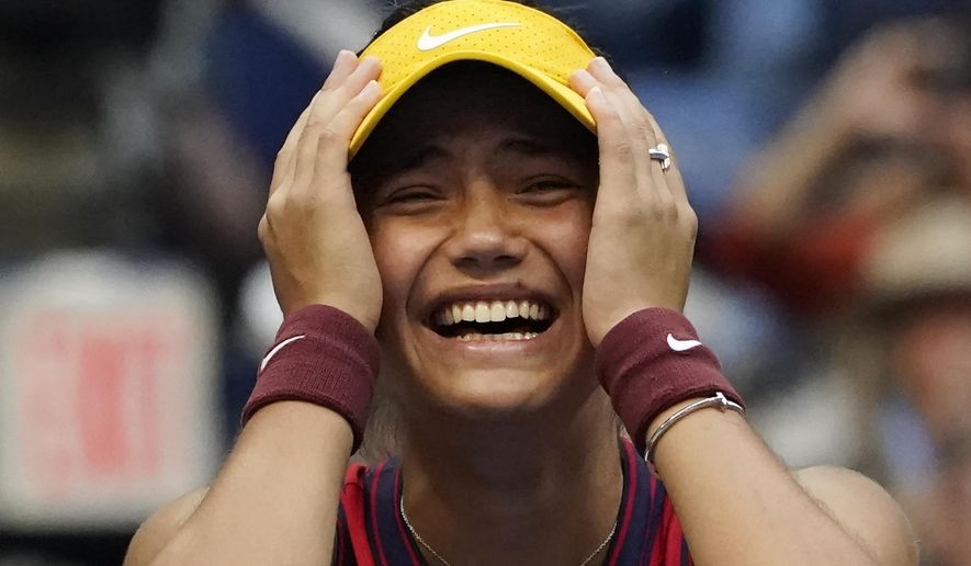 Emma Raducanu, of Britain, reacts after defeating Leylah Fernandez, of Canada, during the women's singles final of the US Open tennis championships, Saturday, Sept. 11, 2021, in New York. (AP Photo/Elise Amendola) **FILE**