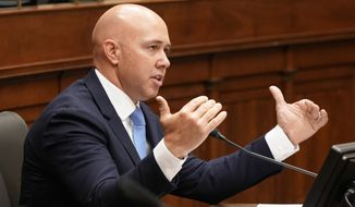 Rep. Brian Mast, R-Fla., speaks during the House Committee on Foreign Affairs hearing on the administration's foreign policy priorities on Capitol Hill on Wednesday, March 10, 2021, in Washington. (Ken Cedeno/Pool via AP) ** FILE **