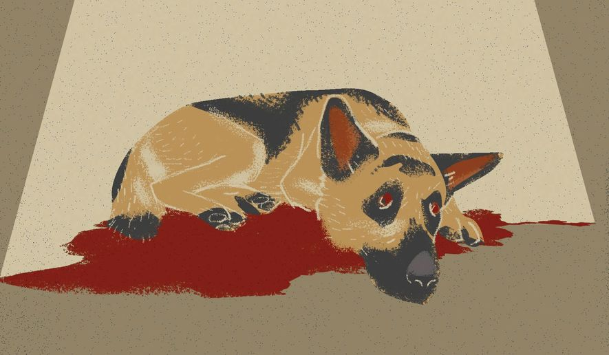 Illustration on the U.S. abandoning military  dogs in Afghanistan by Linas Garsys/The Washington Times