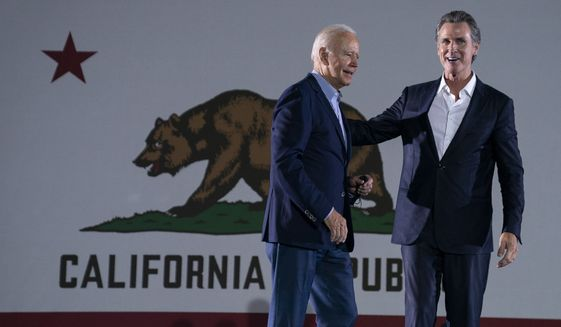 President Joe Biden arrives to speak at a get out the vote rally for Gov. Gavin Newsom, D-Calif., at Long Beach City College, Monday, Sept. 13, 2021, in Long Beach, Calif., as Gavin faces a recall election on Tuesday. (AP Photo/Evan Vucci)