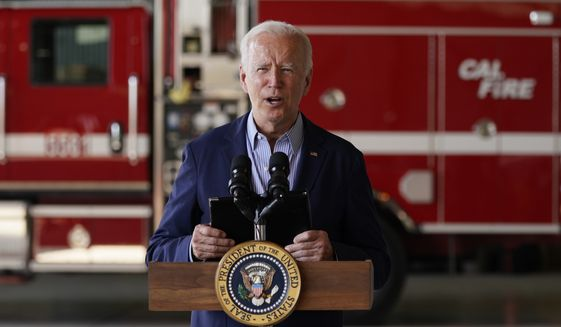 President Joe Biden speaks about recent wildfires, at Sacramento Mather Airport, Monday, Sept. 13, 2021, in Mather, Calif. (AP Photo/Evan Vucci)