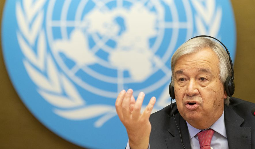 U.N. Secretary-General Antonio Guterres talks to media at a press conference, during the High-Level Ministerial Event on the Humanitarian Situation in Afghanistan, at the European headquarters of the United Nation, in Geneva, Switzerland, Monday, Sept. 13, 2021. (Salvatore Di Nolfi/Keystone via AP)