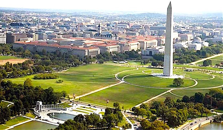 The National Mall and the Federal Triangle area of Washington D.C., home to many federal government offices. (Image courtesy of National Park Service)