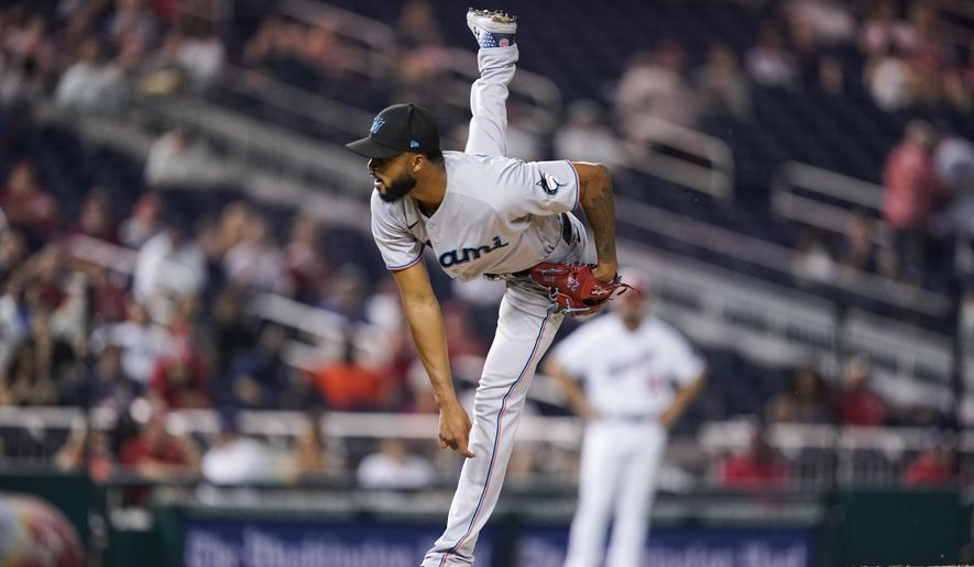 Miami Marlins starting pitcher Sandy Alcantara throws during the fifth inning of a baseball game against the Washington Nationals at Nationals Park, Monday, Sept. 13, 2021, in Washington. (AP Photo/Alex Brandon)