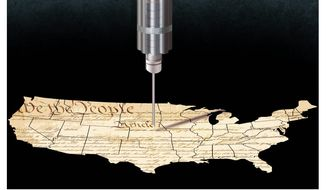 Illustration on Biden's vaccine mandate by Alexander Hunter/The Washington Times