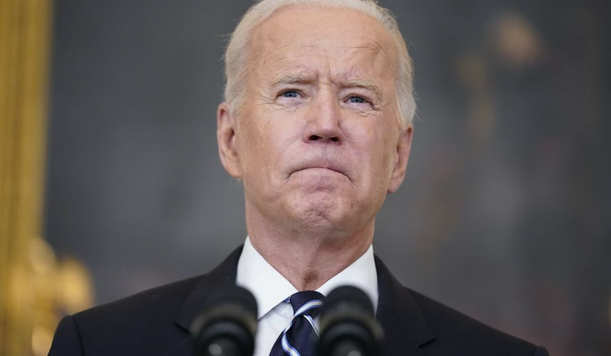 President Joe Biden pauses as he speaks in the State Dining Room at the White House on Sept. 9 as he announced new federal COVID-19 vaccine requirements affecting as many as 100 million Americans. (AP Photo/Andrew Harnik)