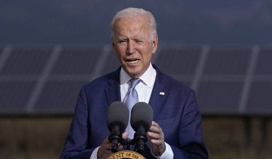President Joe Biden speaks about infrastructure at the Flatirons campus of the National Renewable Energy Laboratory, Tuesday, Sept. 14, 2021, in Arvanda, Colo. (AP Photo/Evan Vucci)