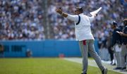 Tennessee Titans head coach Mike Vrabel gestures toward referees during the first half of an NFL football game against the Arizona Cardinals, Sunday, Sep. 12, 2021, in Nashville, Tenn. (AP Photo/Brett Carlsen)
