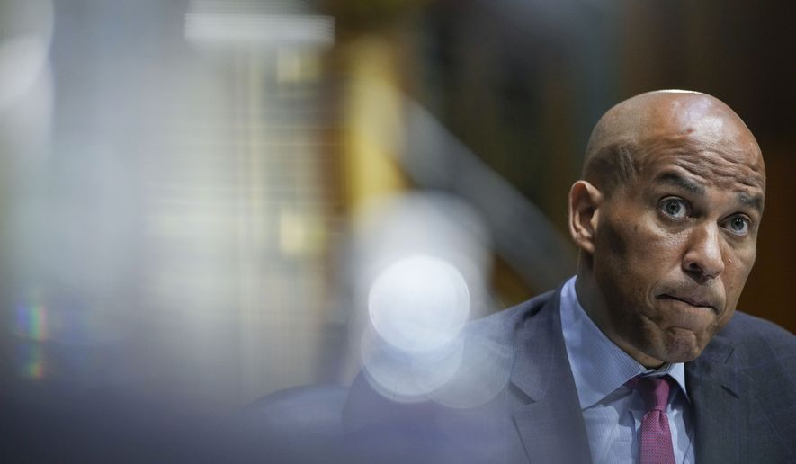 Sen. Cory Booker, D-N.J., questions Secretary of State Antony Blinken during a Senate Foreign Relations Committee hearing, Tuesday, Sept. 14, 2021, on Capitol Hill in Washington. (Drew Angerer/Pool via AP) **FILE**