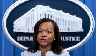 """In this Aug. 5, 2021, file photo, Assistant Attorney General for Civil Rights Kristen Clarke speaks at a news conference at the Department of Justice in Washington. The U.S. Department of Justice on Tuesday announced a statewide civil rights investigation into Georgia prisons. Clarke, who oversees the department's civil rights division, said the investigation will be comprehensive but will focus on """"harm to prisoners resulting from prisoner-on-prisoner violence."""" (AP Photo/Andrew Harnik) ** FILE **"""