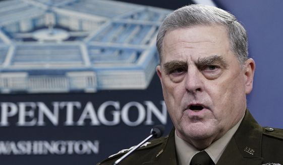 In this Sept. 1, 2021, file photo Chairman of the Joint Chiefs of Staff Gen. Mark Milley speaks during a briefing with Secretary of Defense Lloyd Austin at the Pentagon in Washington. (AP Photo/Susan Walsh, File)