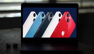 Seen on the screen of a device in La Habra, Calif., new iPhone 13 smartphones are introduced during a virtual event held to announce new Apple products Tuesday, Sept. 14, 2021. (AP Photo/Jae C. Hong) ** FILE **