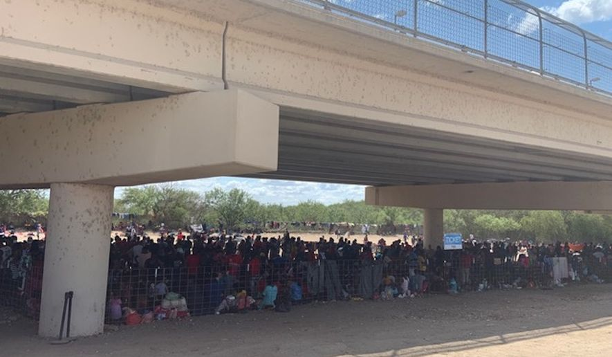 More than 4,500 people are staying in an impromptu migrant camp under a bridge in Del Rio, Texas. (Courtesy of the Val Verde County Sheriff's Office)