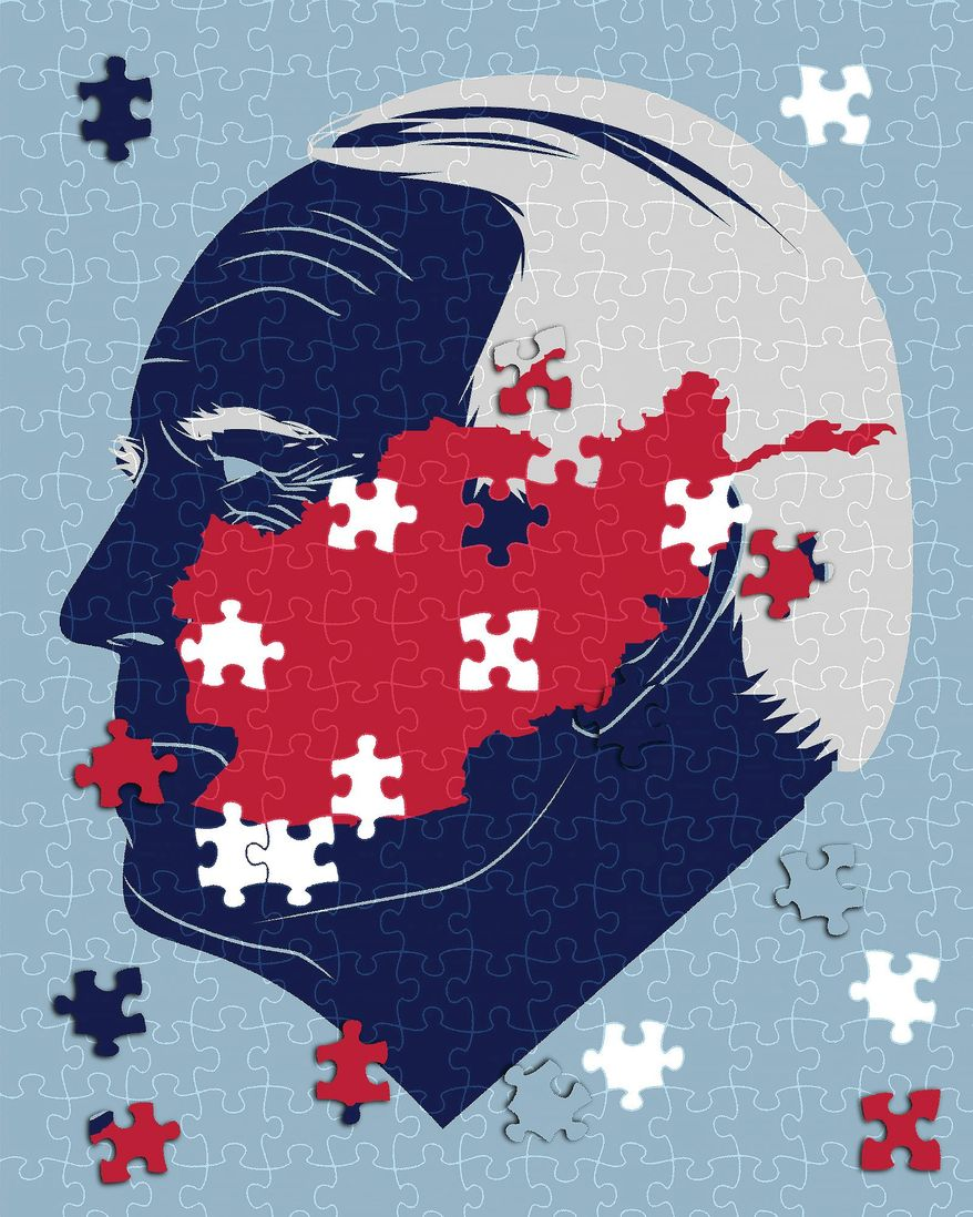 Illustration on Biden's actions in Afghanistan by Linas Garsys/The Washington Times