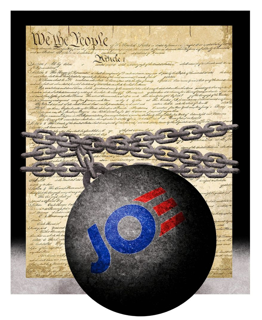 Illustration on President Biden and the Constitution by Alexander Hunter/The Washington Times