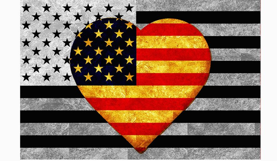 Illustration on love for America by Alexander Hunter/The Washington Times