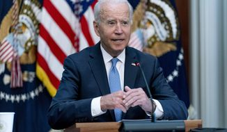 President Joe Biden speaks at a meeting with business leaders and CEOs on the COVID-19 response in the library of the Eisenhower Executive Office Building on the White House campus in Washington, Wednesday, Sept. 15, 2021. (AP Photo/Andrew Harnik)