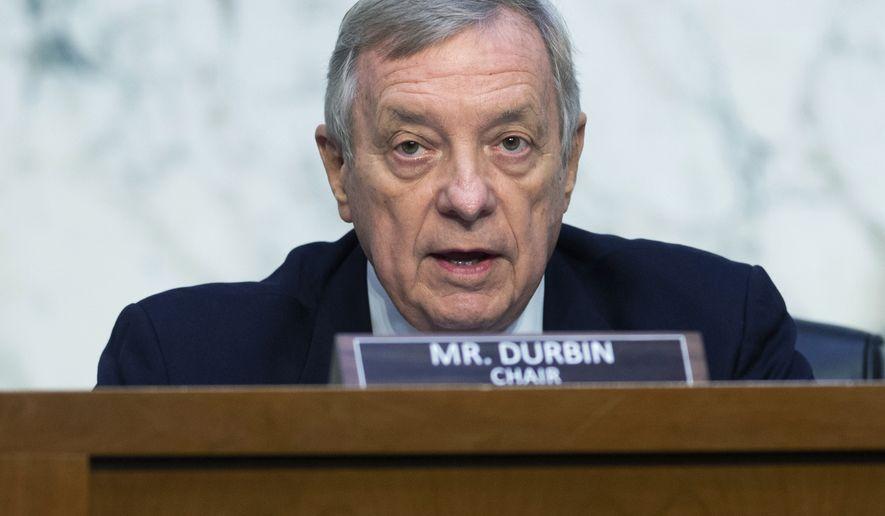 In this file photo, Senate Judiciary Committee chairman Sen. Dick Durbin, D-Ill.,  speaks during a Senate Judiciary hearing on Wednesday, Sept. 15, 2021, in Washington.   (Saul Loeb/Pool via AP)   **FILE**