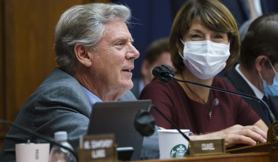 """House Energy and Commerce Chairman Frank Pallone, D-N.J., with Rep. Cathy McMorris Rodgers, R-Wash., right, the ranking member, as they continue work on the """"Build Back Better"""" package, cornerstone of President Joe Biden's domestic agenda, at the Capitol in Washington, Wednesday, Sept. 15, 2021. (AP Photo/J. Scott Applewhite) **FILE**"""