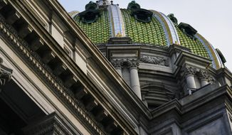 """The Pennsylvania Capitol is shown in Harrisburg, Pa., Wednesday, Sept. 15, 2021. Republicans in Pennsylvania's state Senate are preparing to test how far they can go in pursuing what the GOP calls a """"forensic investigation"""" of last year's presidential election, as they help perpetuate baseless claims that Democrats cheated former President Donald Trump out of victory. (AP Photo/Matt Rourke)"""