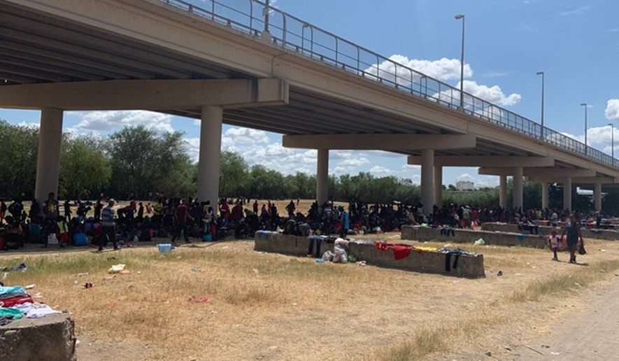 Migrants have flooded the border in Del Rio, Texas, and the Border Patrol says it has nowhere to put them. (Images courtesy of Val Verde County Sheriff's Office)
