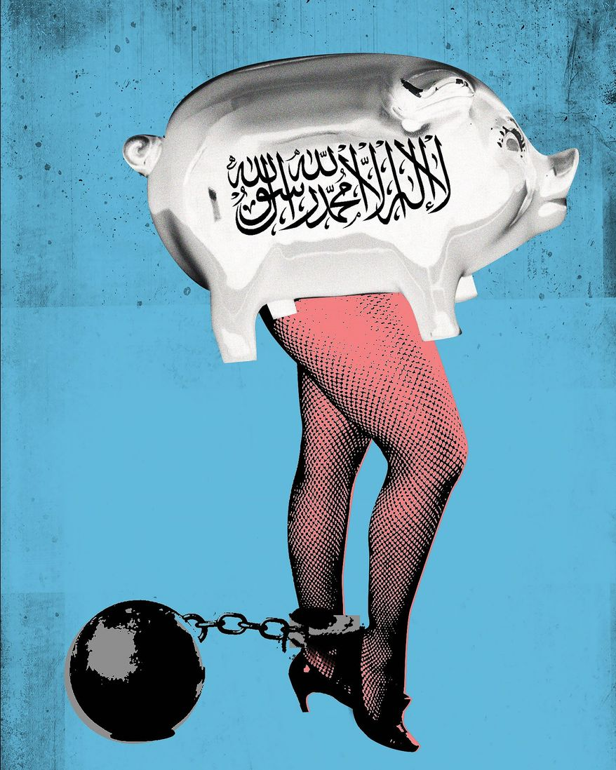 Illustration on child sex trafficking  and the Taliban by Linas Garsys/The Washington Times