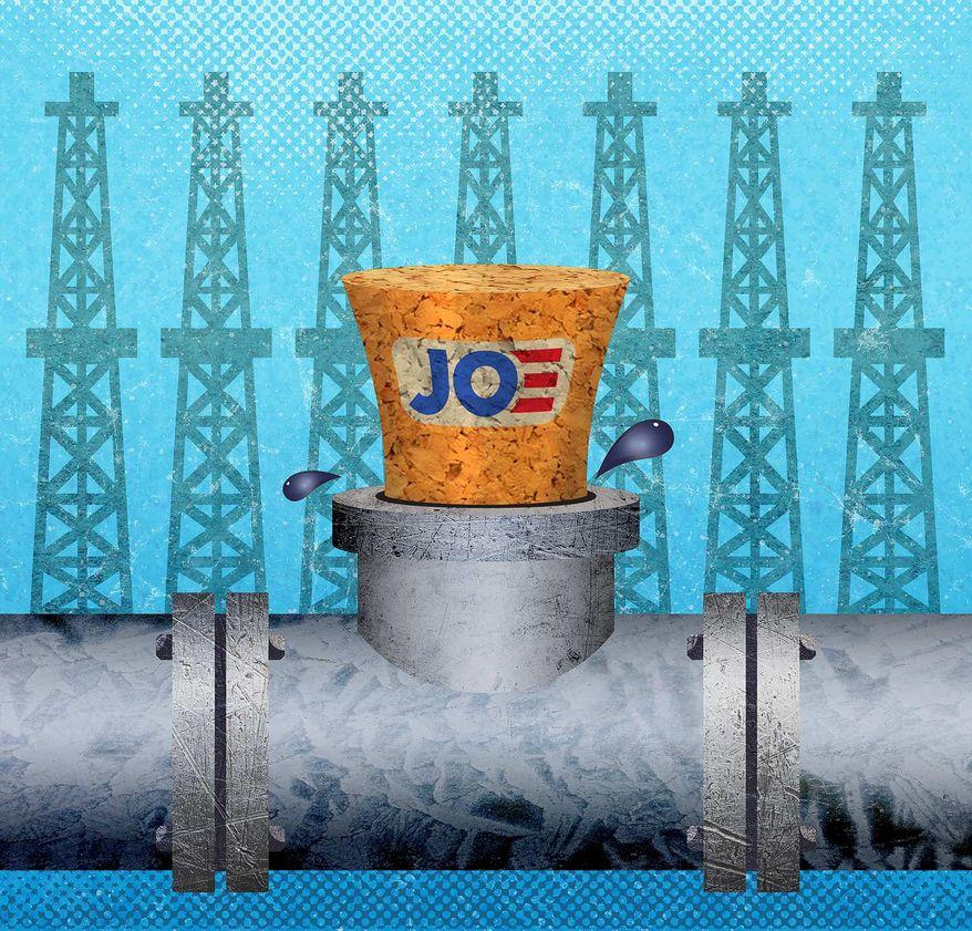 Biden's War on Energy Pipelines Illustration by Greg Groesch/The Washington Times