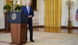 President Joe Biden leaves after speaking about the economy in the East Room of the White House, Thursday, Sept. 16, 2021, in Washington. (AP Photo/Evan Vucci)