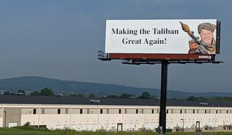 Former Republican State Sen. Scott Wagner rented out this billboard along Interstate 83, Wednesday, Sept. 15, 2021, in York, Pa., to express his displeasure with the Biden administration's handling of the withdrawal from Afghanistan. (Paul Kuehnel/York Daily Record via AP)