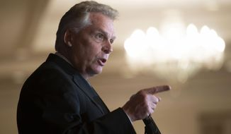 In this Wednesday, Sept. 1, 2021, file photo, Virginia Democratic gubernatorial candidate Terry McAuliffe addresses the Virginia FREE Leadership Luncheon in McLean, Va. McAuliffe and Republican Glenn Youngkin are set to square off in Virginia's first gubernatorial debate of the general election season, on Thursday, Sept. 16, in a race that is being closely watched as a possible indicator of voter sentiment heading into the 2022 national midterm elections. (AP Photo/Cliff Owen, File)