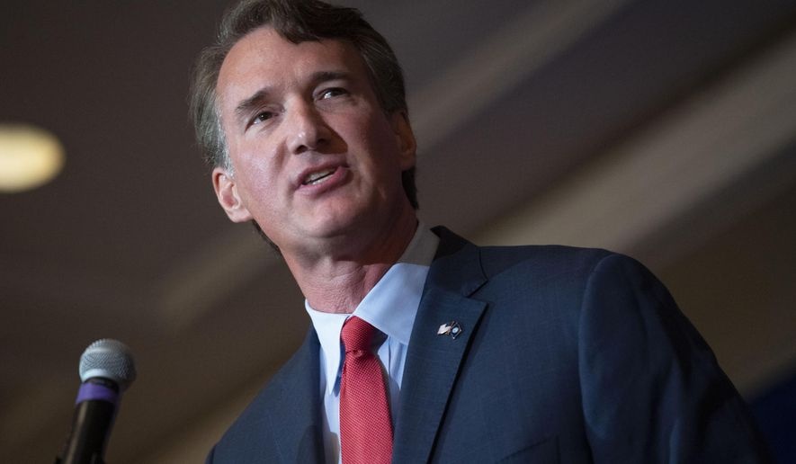In this Wednesday, Sept. 1, 2021, file photo, Virginia Republican gubernatorial candidate Glenn Youngkin addresses the Virginia FREE Leadership Luncheon in McLean, Va. (AP Photo/Cliff Owen, File)