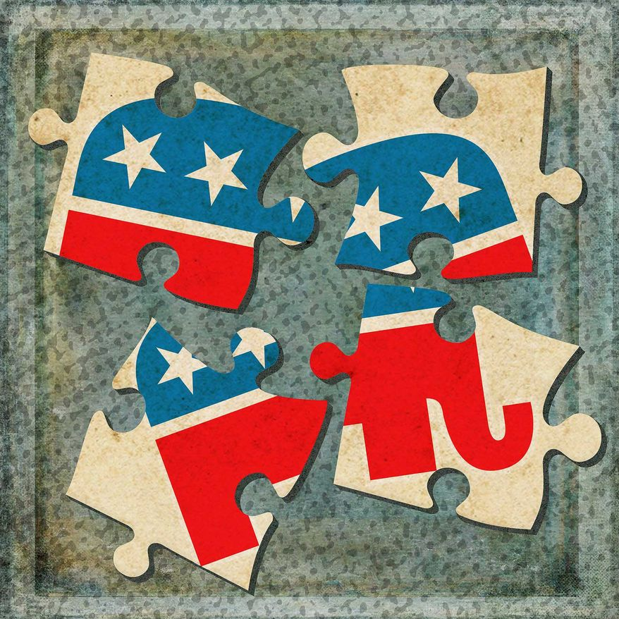 GOP Divided Puzzle Illustration by Greg Groesch/The Washington Times