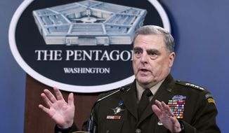 In this July 21, 2021, file photo, Joint Chiefs Chairman Gen. Mark Milley speaks at a press briefing at the Pentagon in Washington. (AP Photo/Kevin Wolf)