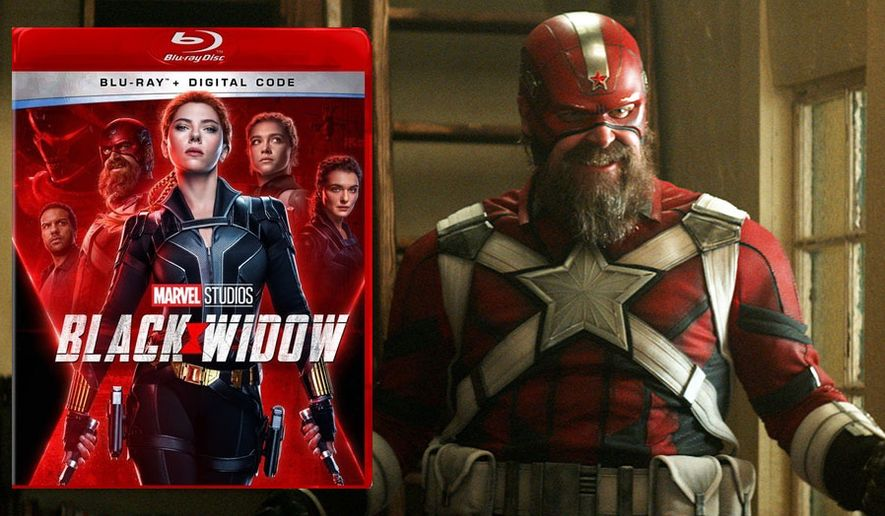"""Soviet super soldier Alexei Shostakov aka Red Guardian (David Harbour) makes his debt in the Marvel Cinematic Universe in """"Black Widow,"""" now available in the Blu-ray format from Walt Disney Studios Home Entertainment."""
