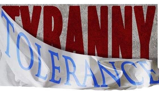 Illustration on Tolerance and tyranny by Alexander Hunter/The Washington Times