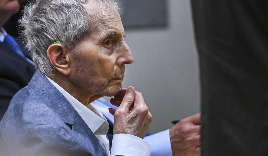 FILE - In this Thursday, March 5, 2020, file photo, Real estate heir Robert Durst sits during his murder trial at the Airport Branch Courthouse in Los Angeles. A Los Angeles jury convicted Robert Durst Friday, Sept. 17, 2021 of murdering his best friend Susan Berman, 20 years ago in a case that took on new life after the New York real estate heir participated in a documentary that connected him to the slaying linked to his wife's 1982 disappearance. (Robyn Beck/AFP via AP, Pool, File)