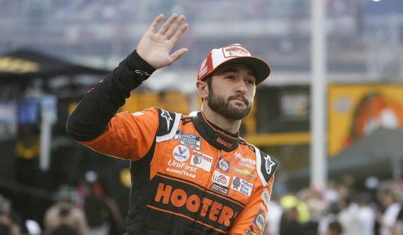 Chase Elliott waves to fans before a NASCAR Cup Series auto race at Bristol Motor Speedway Saturday, Sept. 18, 2021, in Bristol, Tenn. (AP Photo/Mark Humphrey) **FILE**