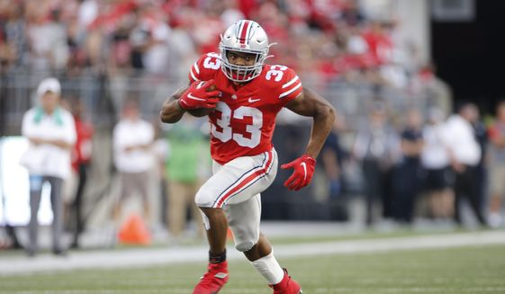 Ohio State running back Master Teague plays against Tulsa during an NCAA college football game Saturday, Sept. 18, 2021, in Columbus, Ohio. (AP Photo/Jay LaPrete) **FILE**