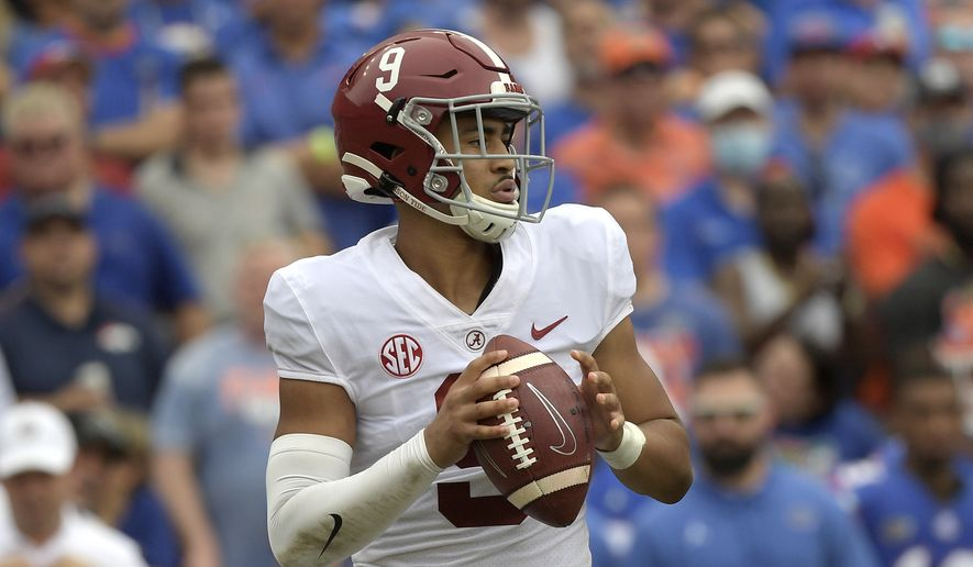 Alabama quarterback Bryce Young (9) sets up to throw a pass during the first half of an NCAA college football game against Florida, Saturday, Sept. 18, 2021, in Gainesville, Fla. (AP Photo/Phelan M. Ebenhack) **FILE**