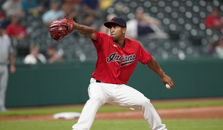 Cleveland Indians relief pitcher Anthony Gose delivers in the fourth inning in the second baseball game of a doubleheader against the Kansas City Royals, Monday, Sept. 20, 2021, in Cleveland. (AP Photo/Tony Dejak)