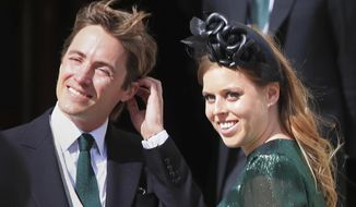 In this Aug. 31, 2019, file photo, Princess Beatrice and her husband Edoardo Mapelli Mozzi attend the wedding of Ellie Goulding and Caspar Jopling, in York, England. Princess Beatrice and her husband announced the birth of a daughter, Buckingham Palace said Monday, Sept. 20, 2021. The baby, who was born on Saturday at London's Chelsea and Westminster Hospital, weighed 6 pounds and 2 ounces (2.78 kilos). Her name was not immediately revealed. (Peter Byrne/PA via AP, File)